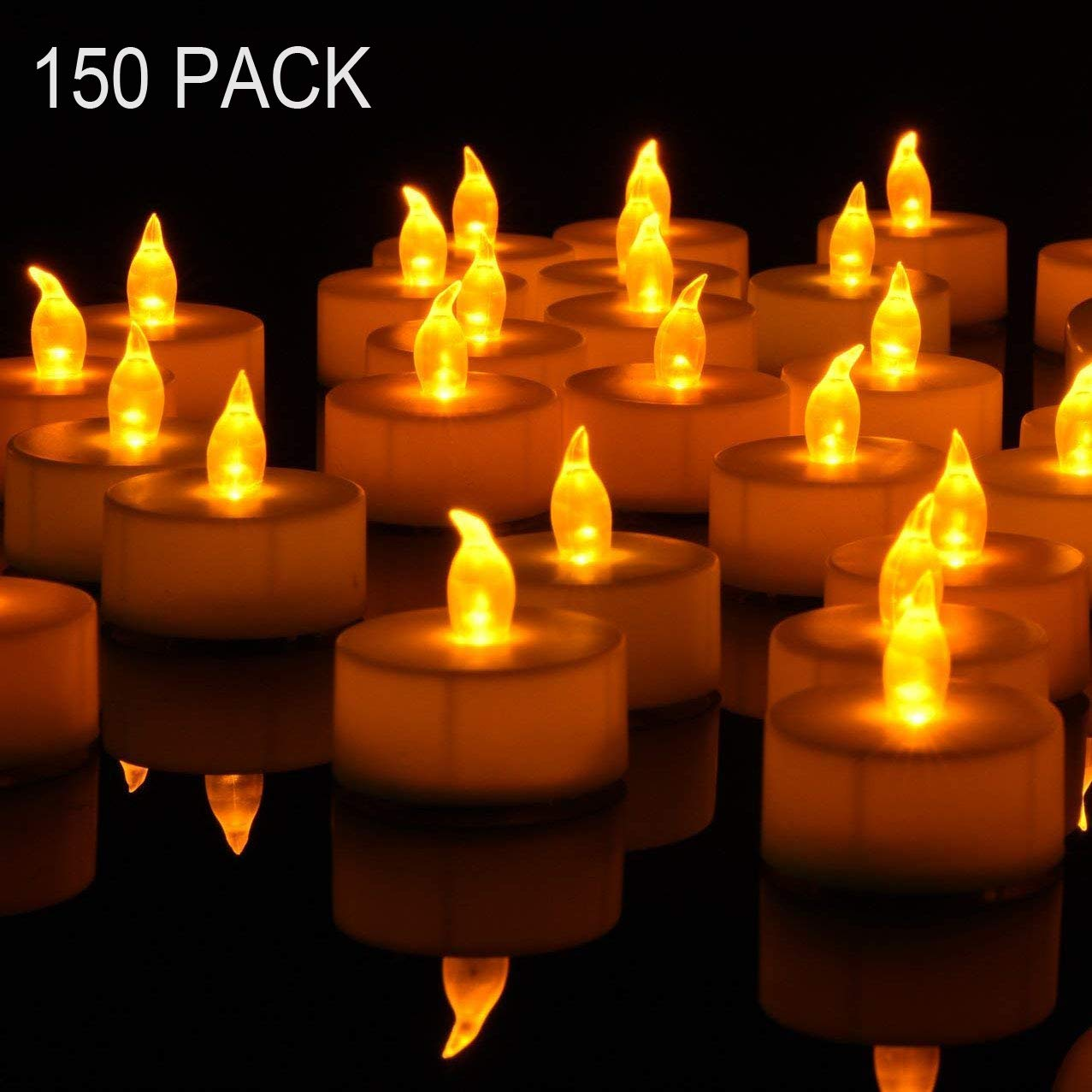Tea Lights, 150PACK Flameless LED Tea Lights Candles, Flickering Warm Yellow, 100 Hours Battery-Powered Tea Light, Ideal Party, Wedding, Birthday, Gifts Home Decoration (150 Pack) by Nancia