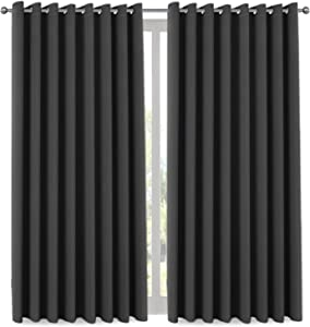 H.VERSAILTEX Blackout Patio Curtains 100 x 84 Inches for Sliding Door Extral Wide Blackout Curtain Panels Thermal Insulated Room Divider - Grommet Top, 7' Tall by 8.5' Wide - Charcoal Gray