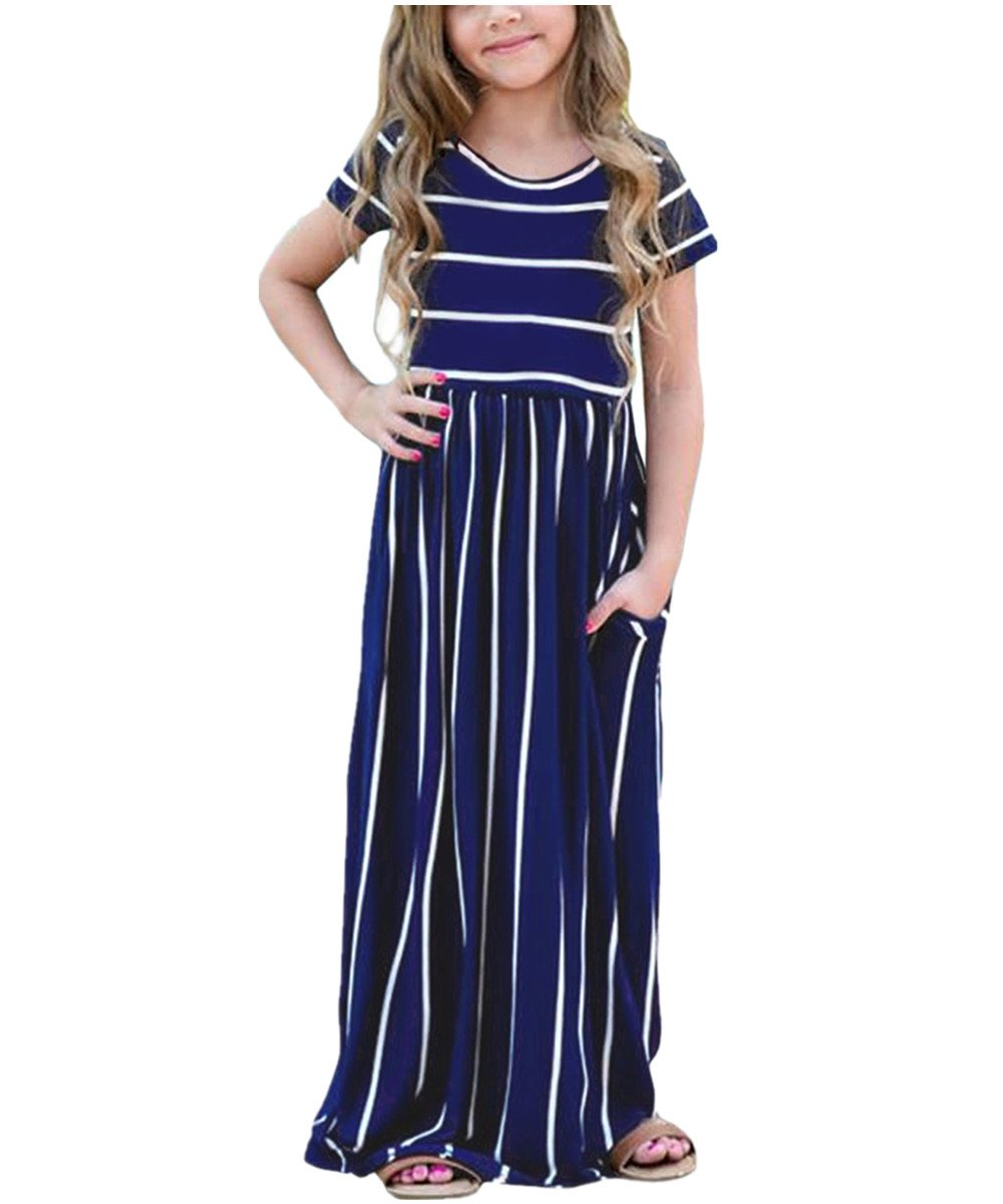 KIDVOVOU Girls Striped Short Sleeve Casual Long Maxi Dress with Pocket Size 4-13,Blue,10-11years
