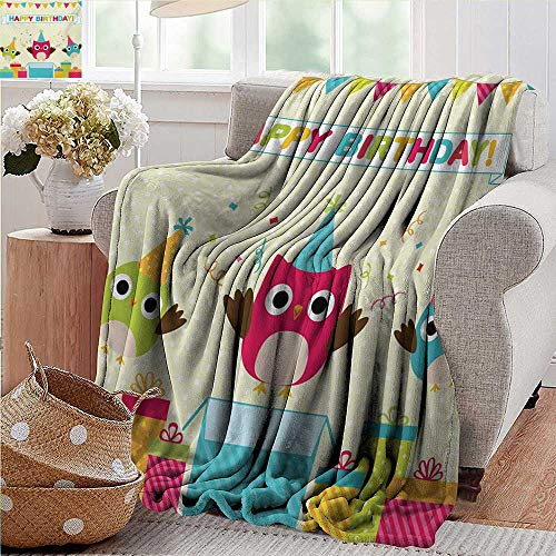 PearlRolan Outdoor Blanket,Kids Birthday,Happy Chubby Baby Owls Flags Box on Polka Dots Backdrop Celebration Print,Multicolor,300GSM,Super Soft and Warm,Durable Throw Blanket -