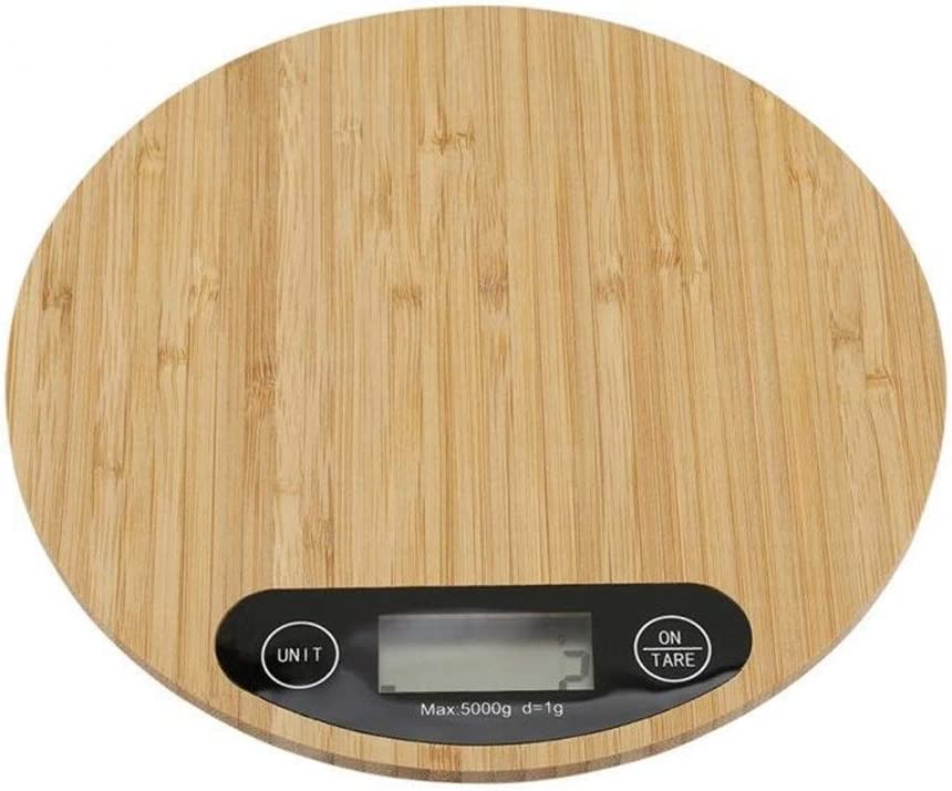 V1 5KG/1G, Heights Precision Kitchen Food Scale, Wooden Bamboo HD LCD Display Electronic Scale