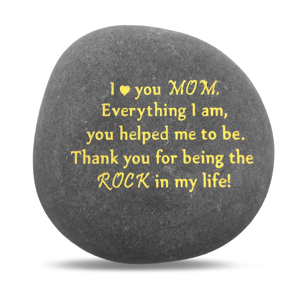 Unique Gift for Mom - Thank You for Being My Rock, Mothers Day Birthday Wedding Gifts for Mother from Daughter Son Kids, Novelty Keepsake Paperweight Pebble Stone Engraved Rock with Sentiment Words