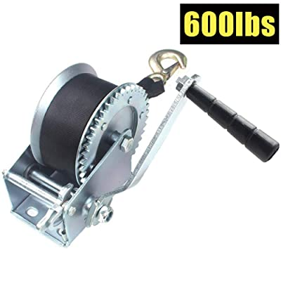 OPENROAD 600lbs Hand Winch with Strap,Hand Crank Gear Winch Portable Manual Winch for Trailer, Boat or ATV: Home Improvement