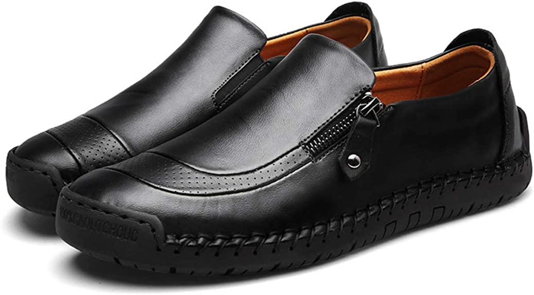 M Mens Driving Casual Shoes Zipper Slip On Loafers Light-Weight Soft Comfortable Oxford Walking Shoes White-Lable 40//6.5 D US Men