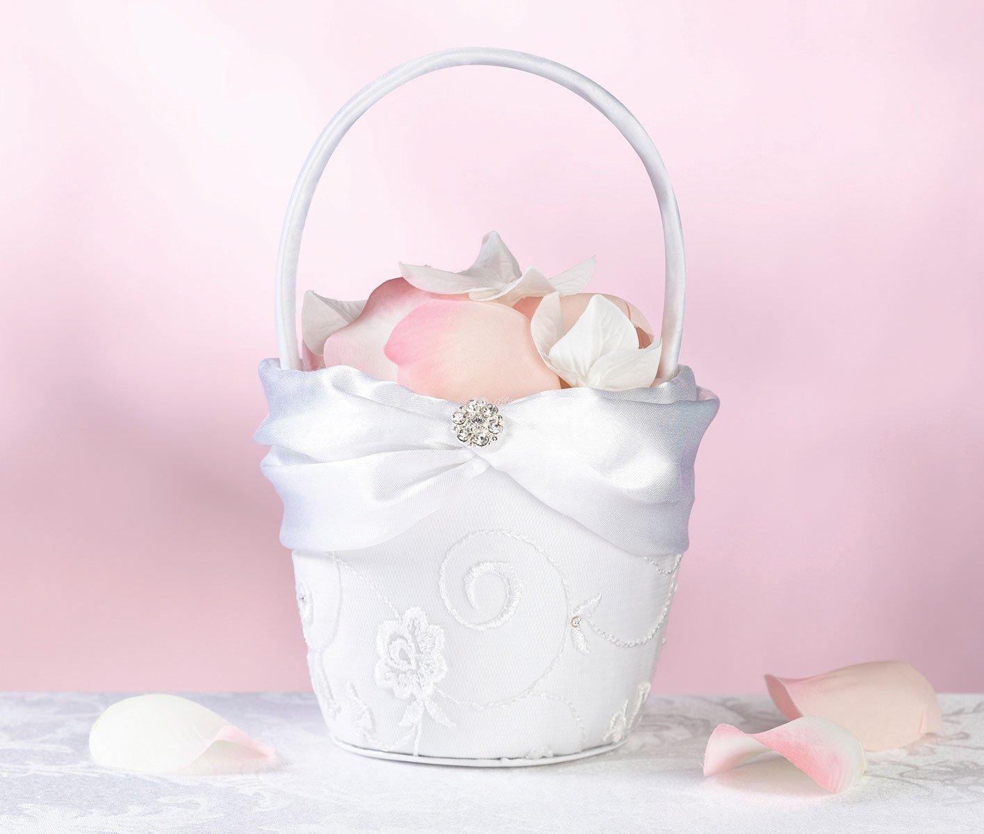 Amazon Lillian Rose Vintage Lace Flower Girl Basket Home Kitchen