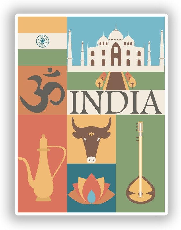 2 x 15cm//150mm India Vinyl Stickers Travel Luggage #10114
