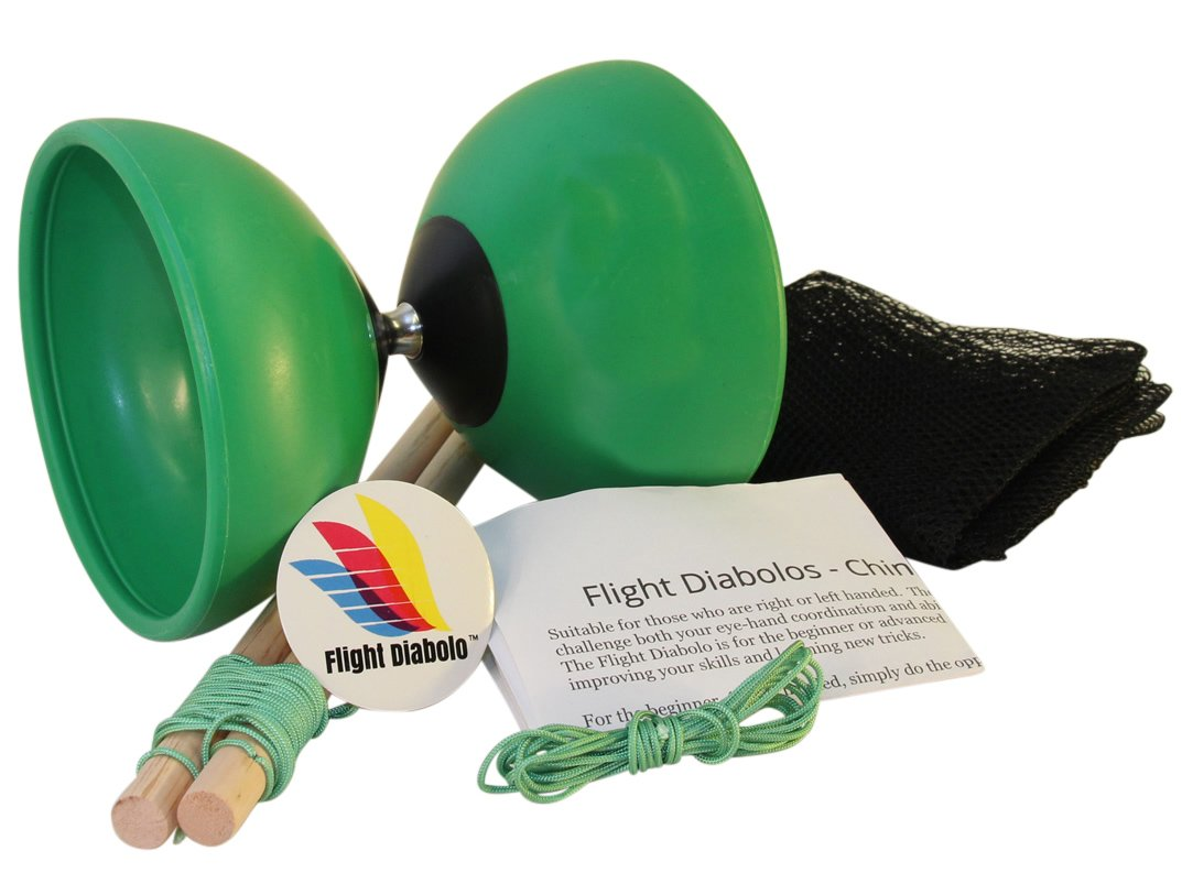 Flight Zone Medium 4.7'' Pro Green Chinese Yoyo Diabolo with Wooden Sticks, Net Carrying Bag and Extra String