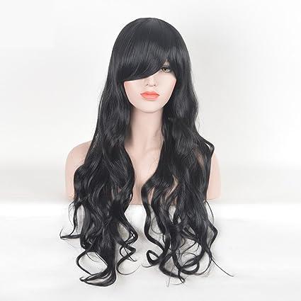 Negro oblicua flequillo peluca de pelo largo y rizado modelos femeninos fibra diaria COS peluca