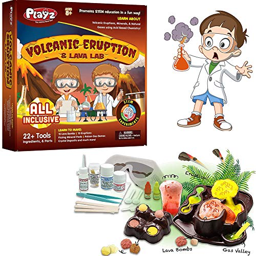 Playz Volcanic Eruption & Lava Lab Science Experiments Kit - 22+ Tools to Make Lava Bombs, Volcano Eruptions, Fizzing Mineral Pools, Fake Poison Gas, & Crystal Deposits for Boys, Girls, & Teenagers -