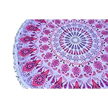 "Oversized Microfiber Mandala Round Beach Towel- XL 60"" diameter Circle Ultra-absorbent Beach Blanket- Free to Be branded beach/picnic throw (Pink Mandala)"