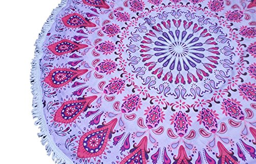 "Oversized Microfiber Mandala Round Beach Towel- XL 60"" diameter Circle Ultra-absorbent Beach Blanket- Free to Be branded beach/picnic throw (Pink - Redondo Kids Fit Beach"