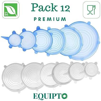 Equipto – Tapa de Silicona alimentaria Extensible Reutilizable Juego 12 Piezas – Compatible con microondas,