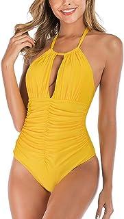 WILLTOO One Piece Swimsuits for Women Plus Size Bikini Halter V Neck Monokini Bathing Suit