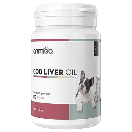 Animigo Aceite Hígado de Bacalao para Perros y Gatos | Suplemento Natural de Aceite de Pescado | Vitamina A y D, Omega 3, DHA DPA y EPA | Huesos, ...