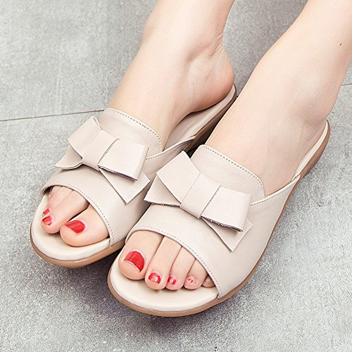 formato 03 Flat 01 XIAOLIN facoltativo Estate Colore With 5 dimensioni da in Pantofole CN37 Colore Sandals donna EU37 UK4 Flat Sandali Sweet 5 pelle Bow rq6xZwSTqI