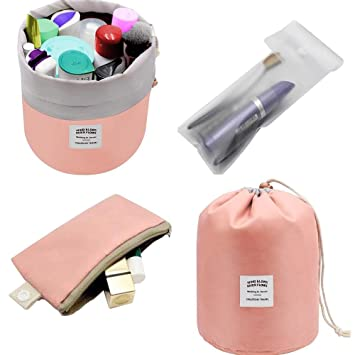 e509783721ef Amazon.com   Waterproof Cosmetic Bags Makeup Bag Travel Barrel Cases Kit  Organizer Bathroom Storage Carry Case Toiletry Bags Multifunctional Bucket  Toiletry ...
