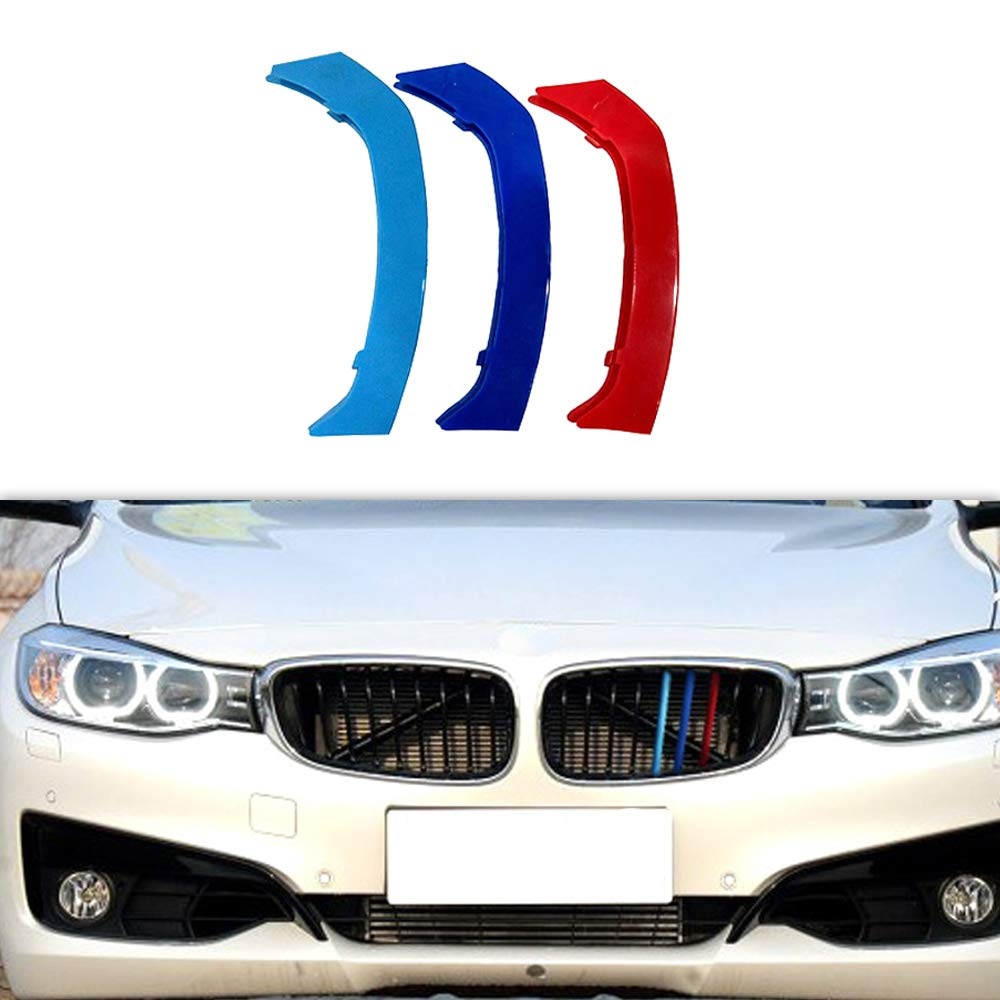 For BMW 3 Series E46 316 318 320 325 328 330 323 Sedan and Touring 1998-2001 M Color Front Grille Grill Cover Insert Trim Clips 3Pcs 10 Grilles