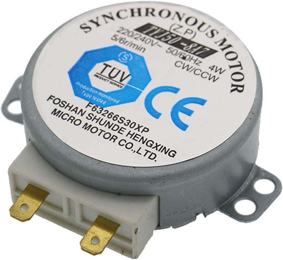 WuYan CW/CCW TYJ50-8A7 Motor síncrono, 50/60 Hz, 220-240 V de CA, 4 W, 6 rpm, 48 mm de diámetro, para soplador de aire caliente o bandeja de horno de microondas