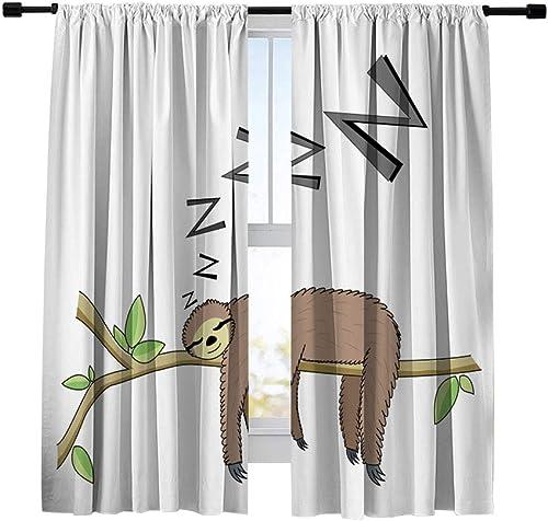 Miblor Cartoon Cute Sleeping Sloth Room Darkening Blackout Curtains