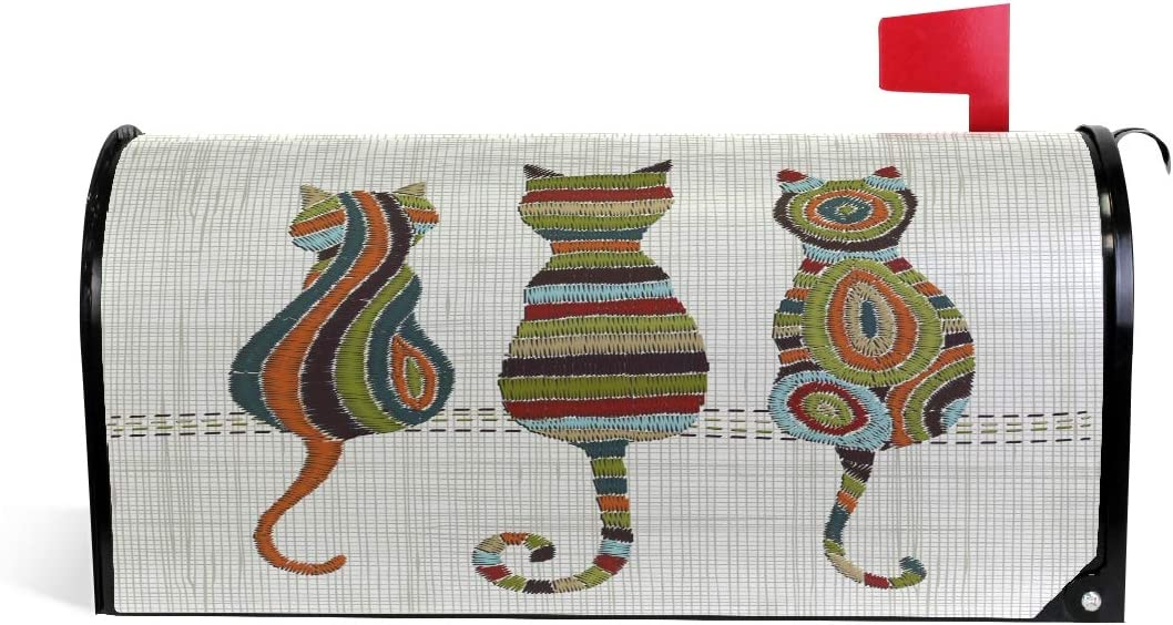 ZZAEO Chic Embroidery Cat Magnetic Mailbox Cover Mailbox Wrap Post Cover MailWraps Makeover Home Garden Yard Decorative for Standard Size 20.7 x 18.03 inch