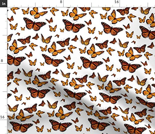 Spoonflower Butterflies Fabric - Butterflies Monarch Bugs Summer Butterfly Orange Monarch Bug Insect by Ladymoondesigns Printed on Petal Signature Cotton Fabric by The Yard