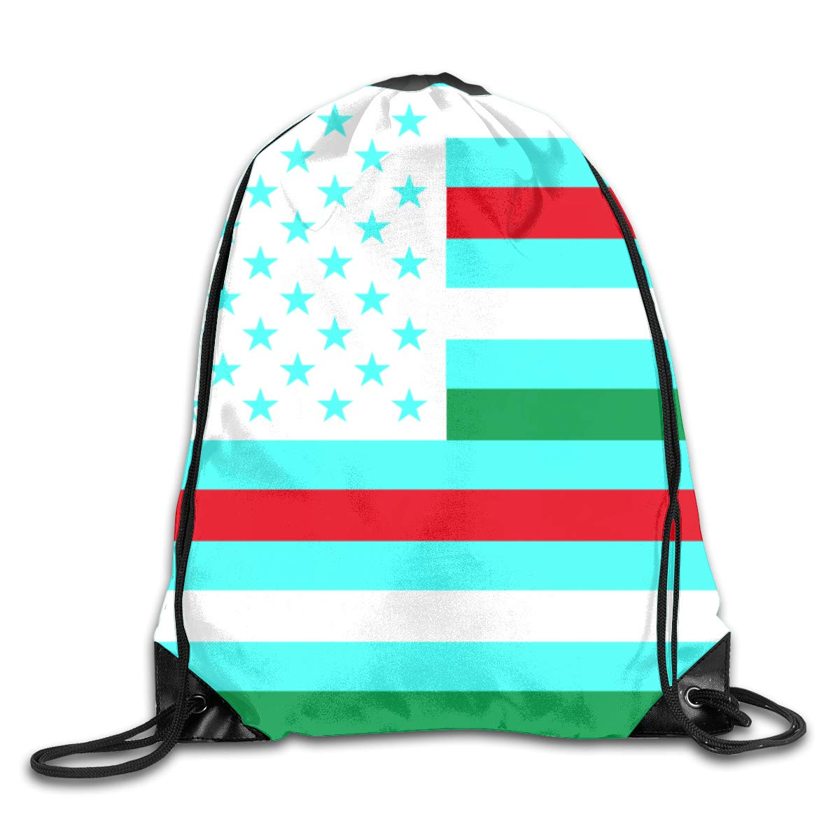 USA Flag Beam Mouth Backpack Pull Rope Shoulder Bag Outdoor Sports Leisure Bag