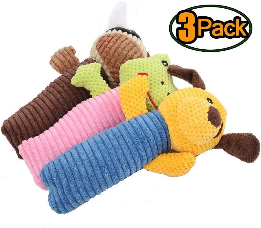 AMOWON Juguetes con Sonido para Perros Peluche De Juguete para Mordeduras De Mascotas Mascota Terciopelo De MaíZ Marioneta Sonido Molar Limpieza De Dientes Juguete ArtíCulos Dog Squeaky Toys