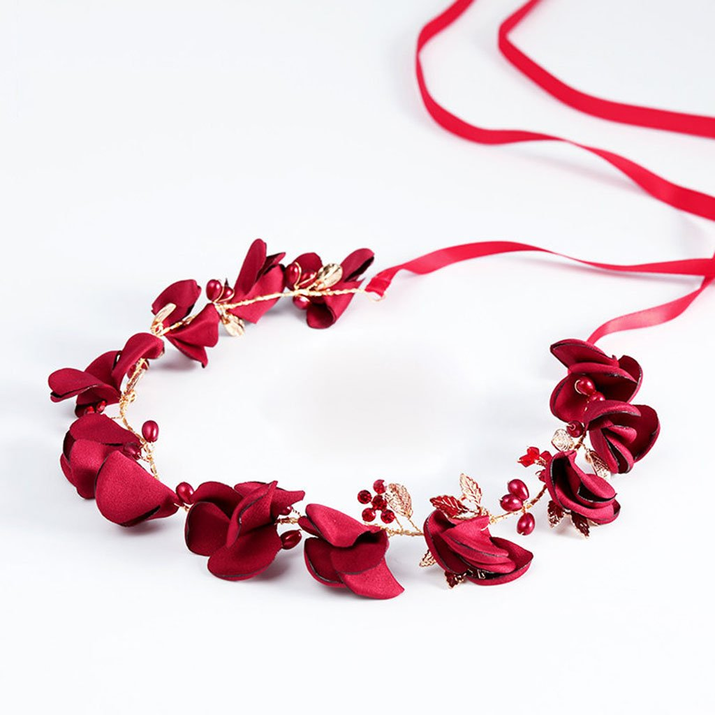 Wreath Flower, Headband Flower Garland Handmade Wedding Bride Party Ribbon Headband Wristband Hairband-Red (Color : Red)