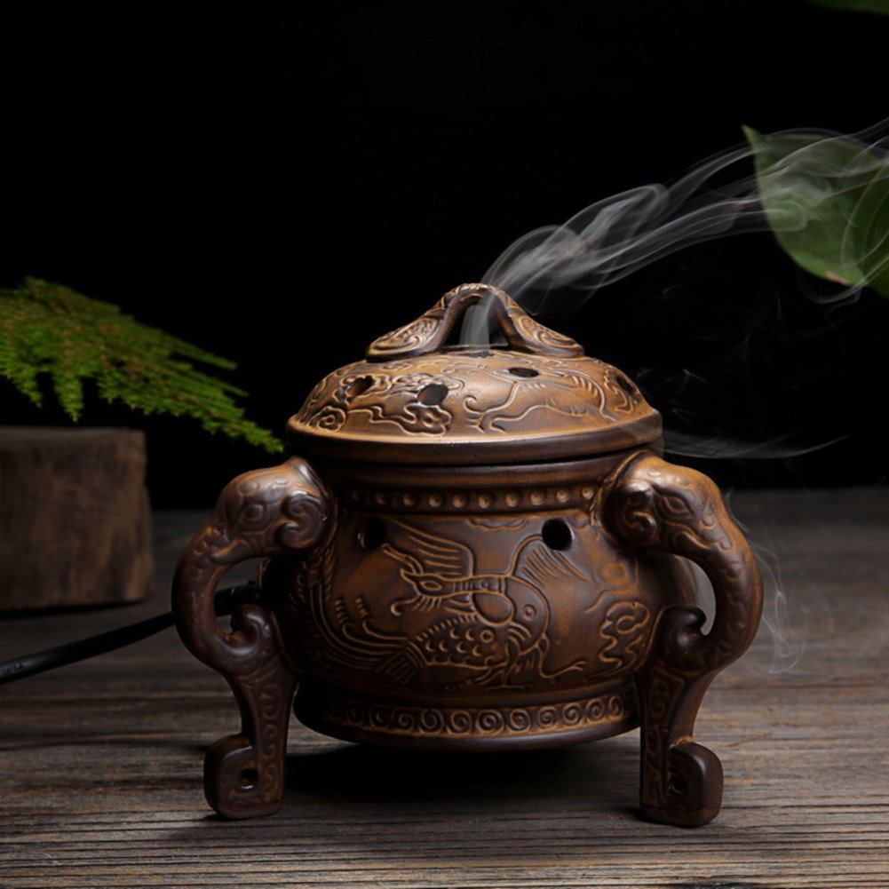 DW&HX Timing Thermostat Antique Ceramics Aroma Stove Essential Oil Wood Lidded Indoor Buddhism-B