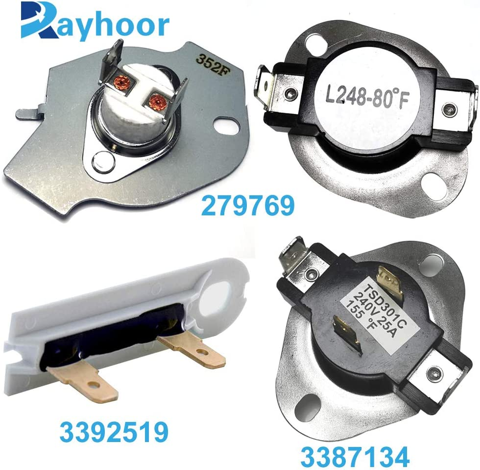 Rayhoor 279769 Dryer Thermal Cut-Off Kit, 3387134 Dryer Thermostat and 3392519 Dryer Thermal Fuse for Whirlpool Kenmore Dryers Replaces 3977394 3390291 PS345113 AP6008325