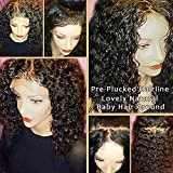JAHUI Hair 180%-250% Density Pre Plucked 360 Lace Frontal Wigs for Black Women Brazilian Virgin Hair 360 Lace Wigs with Baby Hair (12inch 180density, curly)