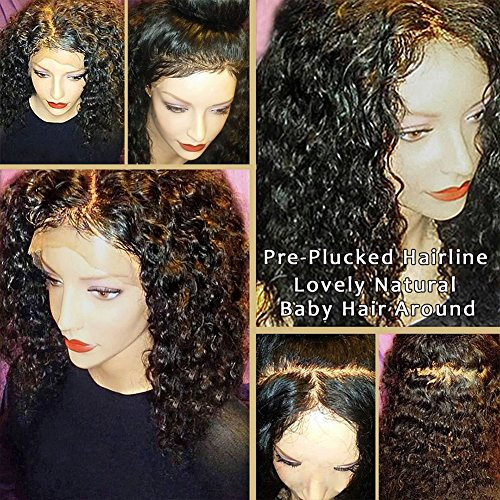 JAHUI Hair 180%-250% Density Pre Plucked 360 Lace Frontal Wigs for Black Women Brazilian Virgin Hair 360 Lace Wigs with Baby Hair (12inch 180density, curly) by JAHUI Hair