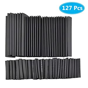 MCIGICM 127pcs Heat Shrink Tubing 2:1, Electrical Wire Cable Wrap Assortment Electric Insulation Heat Shrink Tube Kit (7 Sizes)