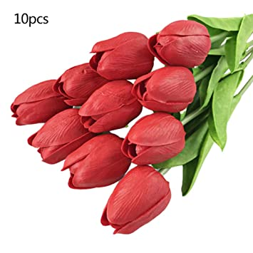 10Pcs Artifical Real Touch Rose Flower Bouquet Wedding Party Bridal Home Decor