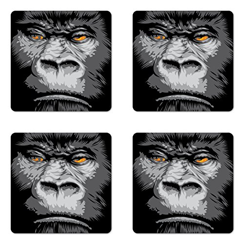 - Ambesonne Modern Coaster Set of 4, Close up Gorilla Portrait with Orange Eyes Zoo Jungle Animal Wild Money Graphic, Square Hardboard Gloss Coasters for Drinks, Grey Marigold
