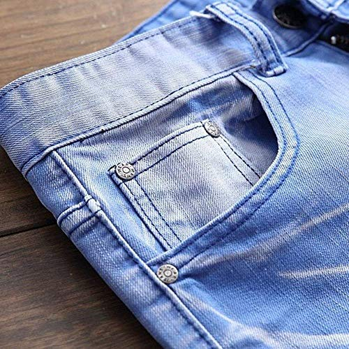 Hellblau Mid Regular Da Fit Waist Denim Base Jeans Abbigliamento Casual Uomo Stretch Pantaloni In Streetwear S6wXfa