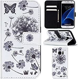 S7 Case,Galaxy S7 Case,OYYC [Dandelion] [Kickstand Feature] Luxury Wallet PU Leather Folio Wallet Flip Case Cover Built-in Card Slots for Samsung Galaxy S7 Case
