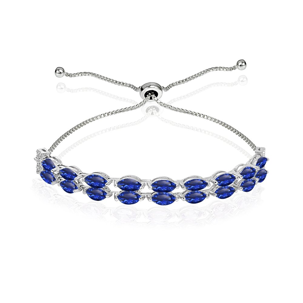 Sterling Silver Created Blue Sapphire & White Topaz Marquise-Cut Two Row Tennis Style Adjustable Bracelet for Women Teens Girls