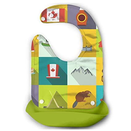 aa9ae60cbe8b Image Unavailable. Image not available for. Color  W3Zap1 Canada Icons Flat  Waterproof Silicone Baby Bibs ...