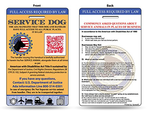 Xpressid service dog id card includes registration to for Service registry