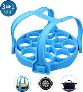 Pressure Cooker Sling JOYXEON Silicone Instant Pot Accessories for Instant Pot 6/ 8Qt, 3in1 Design Removable Sling, Egg Rack, Roasting Racks for Ninja Foodi, Other Pressure Cooker and Multi-cookers