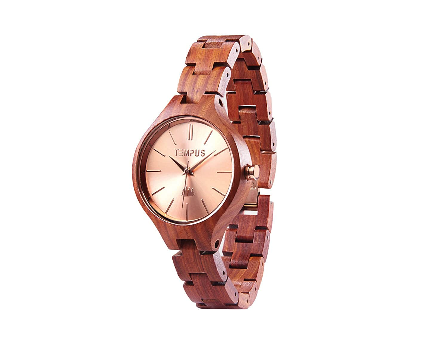 Amazon.com: Tempus Elenor - Rose Gold Red Sandalwood Womens Wood Wooden Bracelet Watch Fashion - TWW-03: Watches