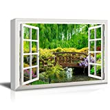 wall26 3D Visual Effect View Through Window Frame Canvas Wall Art - Japanese Style Bridge in a Beautiful Garden - Giclee Print Gallery Wrap Modern Home Decor Ready to Hang - 16x24 inches