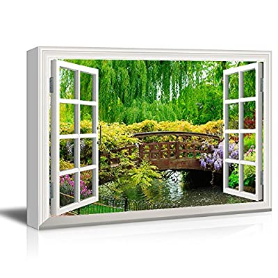 Quality Artwork, Amazing Craft, 3D Visual Effect View Through Window Frame Japanese Style Bridge in a Beautiful Garden