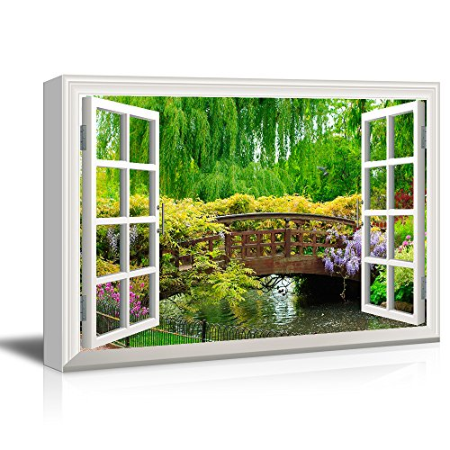wall26 3D Visual Effect View Through Window Frame Canvas Wall Art - Japanese Style Bridge in a Beautiful Garden - Giclee Print Gallery Wrap Modern Home Decor Ready to Hang - 24x36 inches from wall26