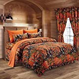 The Woods Orange Camouflage Queen 8pc Premium Luxury Comforter, Sheet, Pillowcases, and Bed Skirt Set by Regal Comfort Camo Bedding Set For Hunters Cabin or Rustic Lodge Teens Boys and Girls