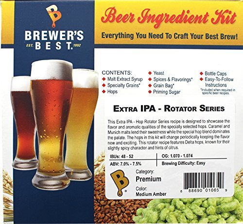 Brewer's Best Home Brew 5 Gallon Beer Ingredient Recipe Kit Extra IPA Hop Rotator Series With Lemondrop Hops