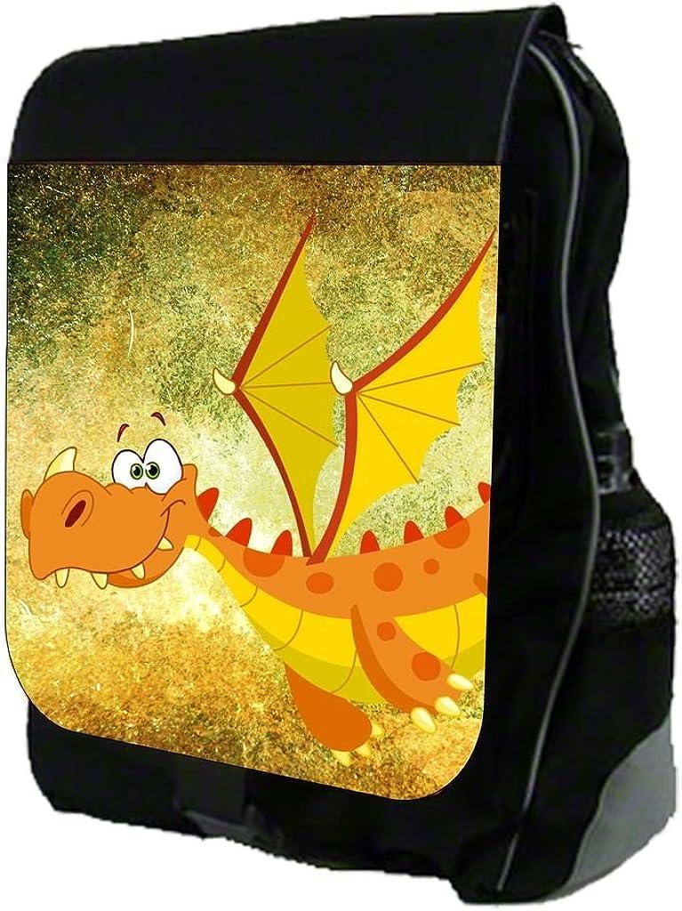 Orange Dragon on Grunge Print Design TM School Backpack
