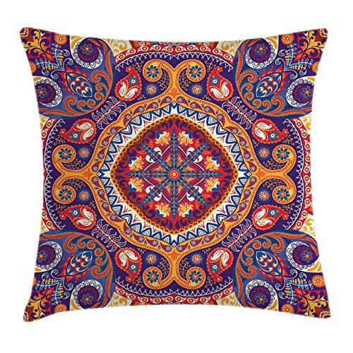 """Paisley Throw Pillow Cushion Cover, Style Ornamental Rug Pattern Inspired Design with Flowers and Leaves, Decorative Square Accent Pillow Case, 24"""" X 24"""", Pale Orange"""