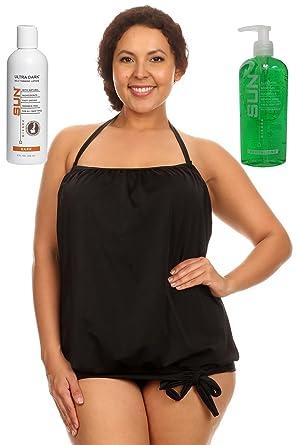 a72794c819e Dippin' Daisy's Blouson Tankini Swimwear for Women | Solid Black Plus Size  20w | with